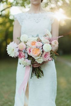 dahlia + garden rose bouquet | Sara & Rocky #wedding