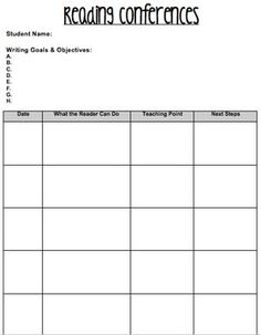 Individualized Conferencing Sheets for Reader's & Writer's Workshop.. Editable & Free! Great way to keep track of your students' IEP goals & objectives!