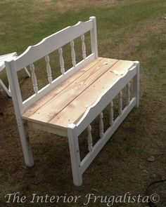 Twin Bed to Garden Bench. Would go a little further, paint seat white and cut out 2 circles on the seat, drop in 2 pots of petunias