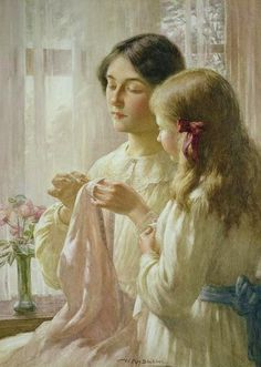 The Lesson by William Kay Blacklock (1872-1922) British Painter ~ Blog of an Art Admirer