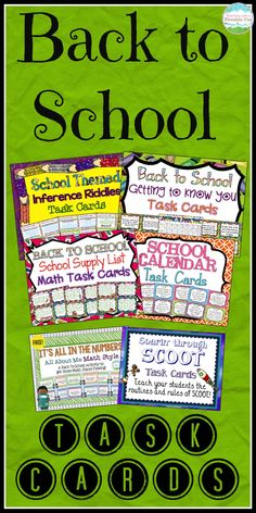 A wide variety of unique back to school task cards!  Your students will be engaged from the very first day of school with these exciting task cards.  Getting to Know You, School Calendar, School Supply List, and Inferences.$  Plus, two FREE sets of task cards!