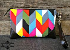 Chevron Zig Zag in Multi Wristlet by SweetPeaTotes on Etsy, $32.00