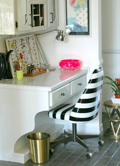 Shown above: how to spray paint vinyl chairs at Little Green Notebook.