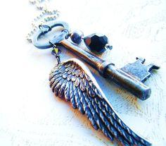 Raven's WingSkeleton Key Upcycled Pendant by PhenomenaJewelry, $20.00