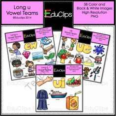 Vowel Teams - Long u Clip Art Bundle from Educlips on TeachersNotebook.com -  (58 pages)  - Vowel Teams - Long u Clip Art Bundle