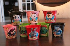 Sheriff Callie's Wild West Set of 8 Colorful Tin Pails Party Favor Containers