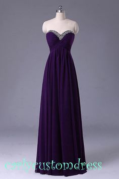 Long Purple Prom Dress/Long Beaded Bridesmaid Dress/Red Grey Black Chiffon Evening Dress/Homecoming Dress/Graduation Dress/Formal Dress
