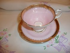 Pretty in Pink--- Tea Cup--- English fine bone china with gold trim