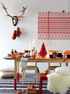 scandinavian christmas in red