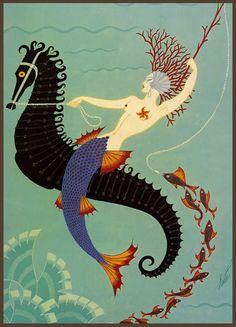 Water, Erté (mermaid riding a seahorse)