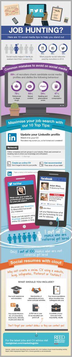 social media tips, the hunt, job search, career, find a job, infograph, job hunting tips, socialmedia, medium