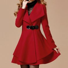 Red Long Coat Winter Coat Woman coat Long Jacket by Largeclothing, $83.00