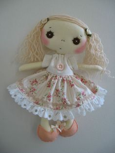 "Handmade Collectible Vintage 10"" LITTLE SHABBY CHIC GIRL Cloth Rag Doll 