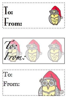 Santa Owl 'Who To' Tags by BlossomingButtons on Etsy, $8.95