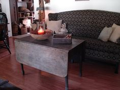 primitive couch, drop leaf table