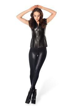 Wet Look Black Leggings | Black Milk Clothing