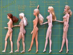 Doll comparison photo - Momoko - 1/ 6 scale female figure - Barbie Belly Button - Fashion Royalty Imogen - FR2 by Hegemony77 doll clothes, v...