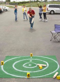 Skittles- tailgating fun. This outdoor version of bowling is based on the ancient Irish game of Skittles.