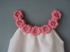 Linen organic flower dress / tunic crochet / sew for the baby / toddlers /