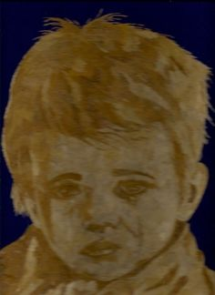 Boy with tears Masterpiece art in leaves.  an you believe it is made out of rice leaves?  Ancient leaf art.  No color, paint or dye added to the natural color of rice straw.  Collectible leaf art.  Start your collection today.   Handmade by museumshop, $199.00