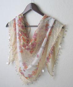 Traditional Turkish Oya Cream Scarf-Shawl ..scarf,authentic, romantic, elegant,