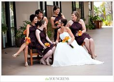 #orange and #brown #wedding - the bride and #bridesmaids