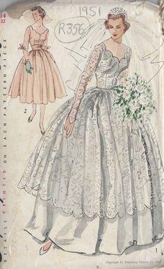 "1951 Vintage Sewing Pattern B32"" Wedding Dress Bridesmaid Dress R356   eBay"