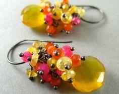Colorful Yellow Gemstone Earrings - Yellow and Green Chalcedony, Carnelian Cluster Earrings
