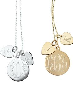 Necklace with your monogram, you add initials as you have children. Love it!