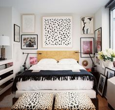 Small and stylish bedroom with gallery wall | Lonny Magazine via Belle Maison
