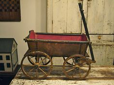 Incredible 1800's Antique Primitive Toy Horse Pull Cart Wagon Folk Art