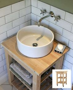 BEKVAM Bath Vanity To save money after shelling out for a rather costly vessel sink, Nick converted a BEKVAM kitchen cart ($59.99) into a bathroom vanity with open shelving.