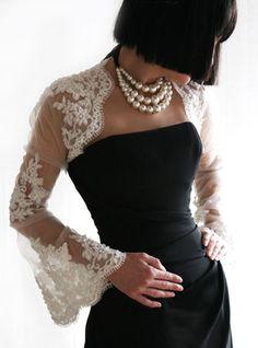 Classic black dress w/ lace.  Love.
