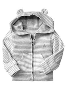 Gap Favorite Striped Bear Hoodie - Gray