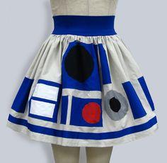fashion star, star war, nerdi, style, skirts, starwar, geeky clothing, halloween, r2d2 skirt