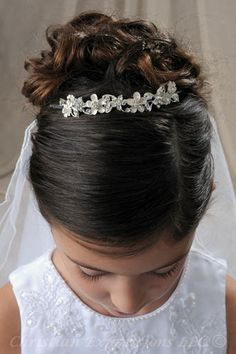 First Communion Hairstyle with Tiara and Veil