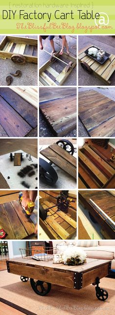Factory Cart Table DIY { Restoration Hardware Inspired }  I wonder if I can get my husband to help with this one???