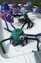 egg crate craft, egg cartons, craft projects, carton spider