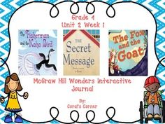 This 4th grade interactive journal is aligned to Common Core and to the McGraw Hill Wonders series for Unit 2-Week 1. This highly INTERACTIVE journal is ideal for teaching all of this week's skills in a powerful, student-friendly way!   Complete Set Includes:  Mini Anchor Charts for Theme, Ask and Answer Questions, Genre (Folktales) Fiction),and Root Words  Graphic Organizers   Vocabulary List with Questions (DEA Routine)  Responding to Reading  Ask and Answer Questions
