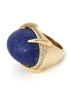 PREORDER Oval Lapis Ring: Blue - New Arrivals - Accessories - IntermixOnline.com - StyleSays