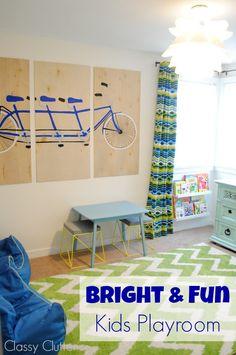 Such a fun kid's playroom! Lots of fun ideas! #playroom #ideas www.classyclutter.net