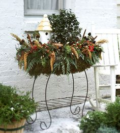 great idea for empty planters! idea, display birds, birdhouse in garden, birdhous display, birdhouses in the garden, beauti birdhous, birdhous planter, holiday decorating, christmas planters