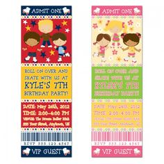 Personalized Roller Skating Party Ticket Invitations