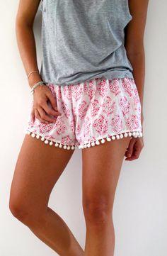 Bright Pink Patterned Pom Pom Shorts