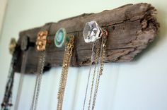 DIY Necklace Holder. Love that you can customize this with any wood or knobs you like!