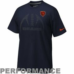 Nike Chicago Bears Legend Carbon Football Icon Performance T-Shirt - Navy Blue