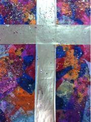 Tissue paper, glue, glitter, shiny paper and creative kids = amazing Pentecost art work