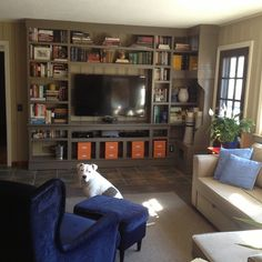 A built-in entertainment center adds balance to a once-blank room. | thisoldhouse.com/yourTOH