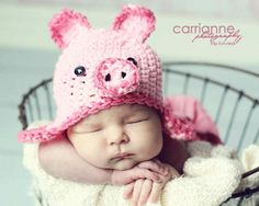 Pig Hat CROCHET PATTERN (All sizes included) Instant Download. $3.99, via Etsy.