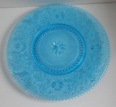 Vintage Blue Tiara Glass Sandwich pattern Platter by Cosasraras, $45.00